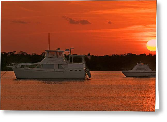 Boats In Harbor Greeting Cards - Red Sunset Over Harbour Greeting Card by Ginger Wakem