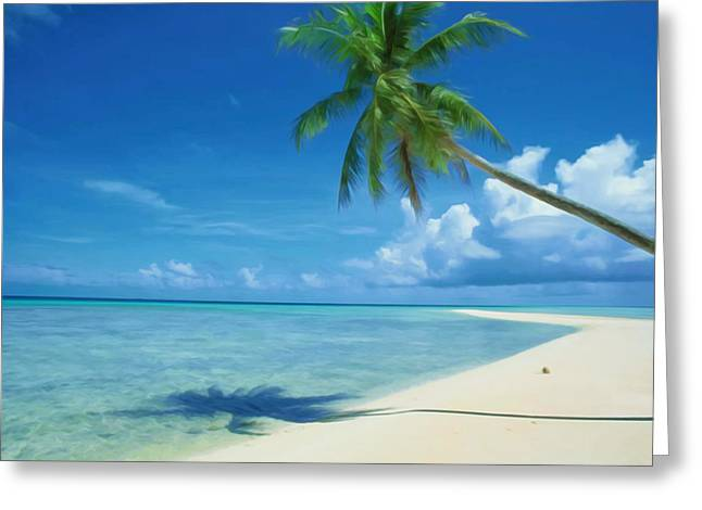 Southern Province Paintings Greeting Cards - Coconut palm tree at beach Greeting Card by Lanjee Chee