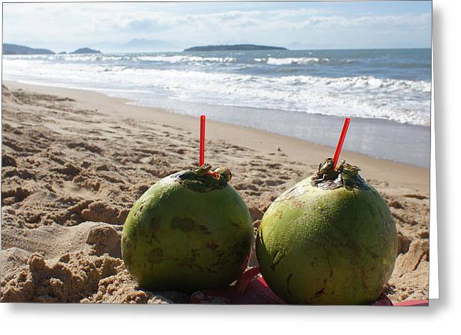 Chikako Hashimoto Lichnowsky Greeting Cards - Coconuts juice on the beach Greeting Card by Chikako Hashimoto Lichnowsky
