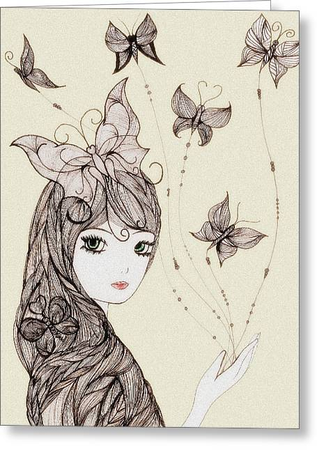 Cocoon Mixed Media Greeting Cards - Cocoon Greeting Card by Anja Partin