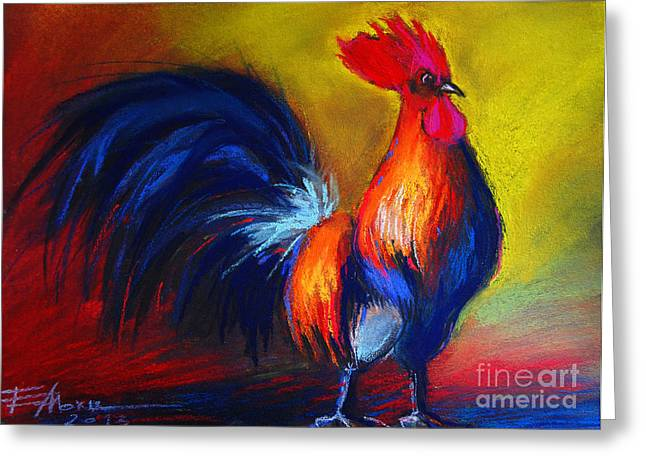 Red Claws Greeting Cards - Cocorico Coq Gaulois Greeting Card by Mona Edulesco