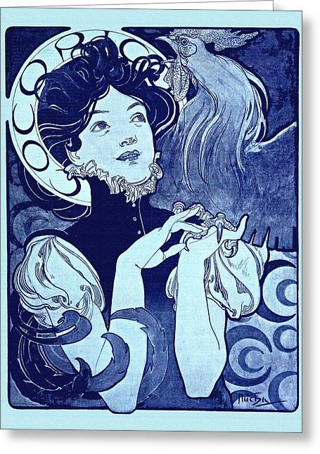 Decorative Greeting Cards - Cocorico Mucha Greeting Card by Gary Grayson
