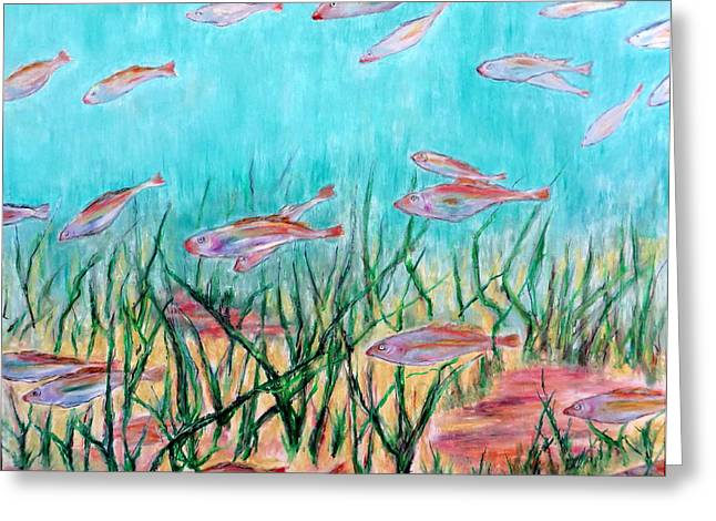 Atlantic Beaches Pastels Greeting Cards - Cod In The Grass Greeting Card by Daniel Dubinsky