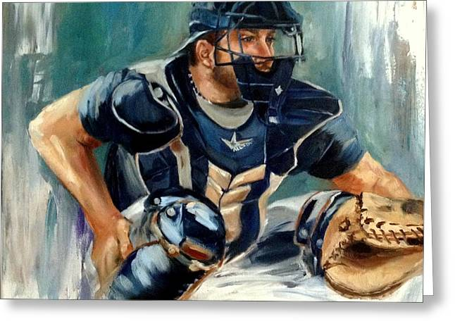 Baseball Paintings Greeting Cards - Cody Greeting Card by Lindsay Frost