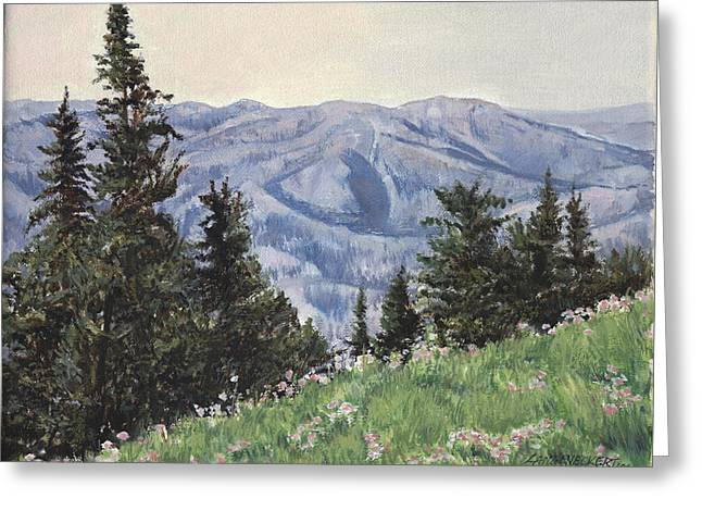 Wyoming Paintings Greeting Cards - Cody Mountain Greeting Card by Don  Langeneckert
