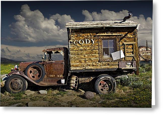 Clunker Greeting Cards - Cody Wyoming Truck Signpost Greeting Card by Randall Nyhof