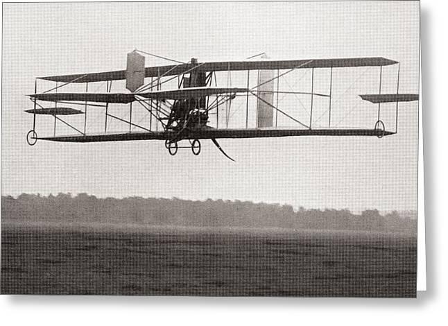 Codys Biplane In The Air In 1909 Greeting Card by American School