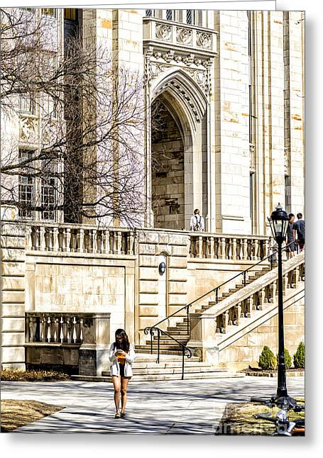 Cathedral Of Learning Greeting Cards - Coed Checks Cell Phone Greeting Card by Thomas R Fletcher