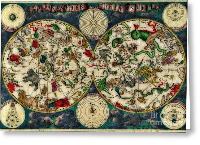 Coeletste Old World Map Greeting Card by Inspired Nature Photography Fine Art Photography