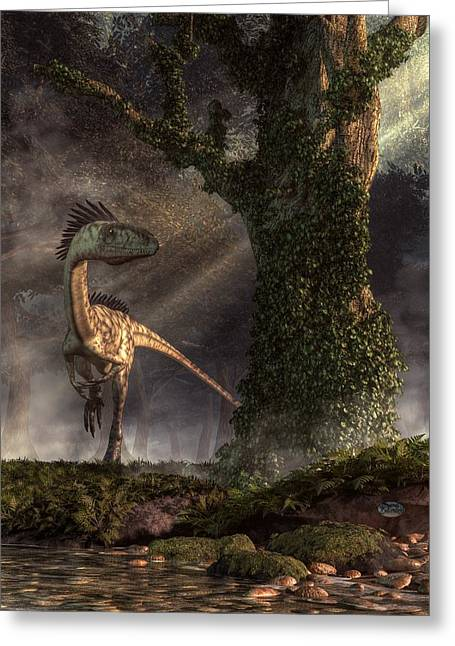 Triassic Greeting Cards - Coelophysis Greeting Card by Daniel Eskridge