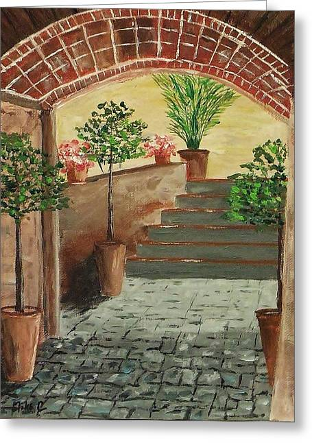 Atrium Paintings Greeting Cards - Courtyard 4 Greeting Card by Mike Caitham