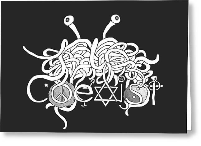 Spaghetti Digital Art Greeting Cards - Coexist  Greeting Card by Rylee Stearnes
