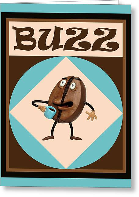 Illustration Sculptures Greeting Cards - Coffee Buzz Greeting Card by Amy Vangsgard