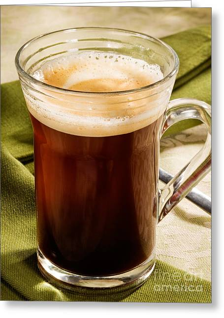 Kaffee Greeting Cards - Coffe in tall Glass on Green Greeting Card by Iris Richardson