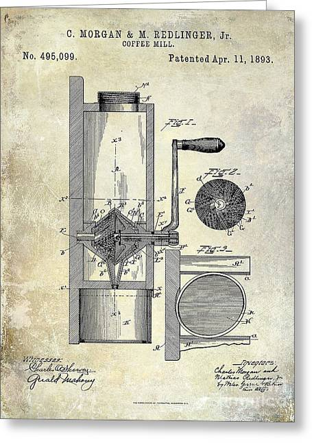 Coffe Greeting Cards - Coffee Mill Patent 1893 Greeting Card by Jon Neidert