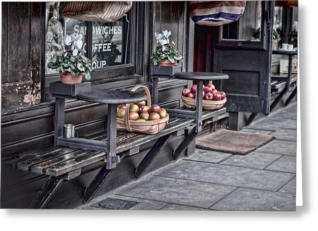 Park Benches Greeting Cards - Coffe Shop Cafe Greeting Card by Heather Applegate