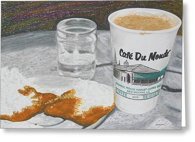 Riverwalk Drawings Greeting Cards - Coffee and Beignet Greeting Card by Hung Quach