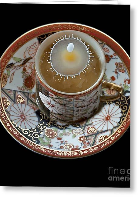 Water Drops Greeting Cards - Coffee and Cream Greeting Card by Susan Candelario