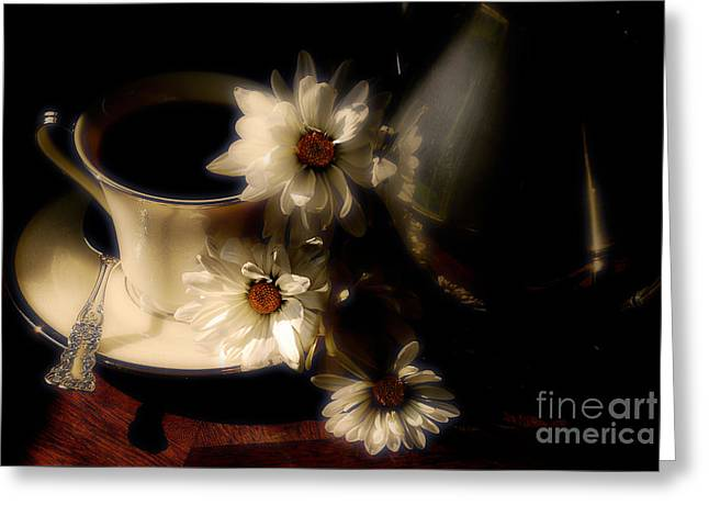 Coffee And Daisies  Greeting Card by Lois Bryan