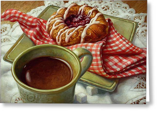 Pastries Greeting Cards - Coffee and Danish Greeting Card by Mia Tavonatti