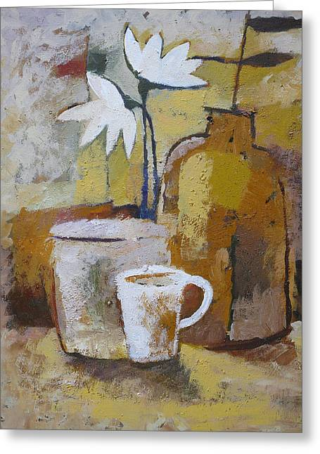 Terracotta Greeting Cards - Coffee and Flowers Greeting Card by Lutz Baar