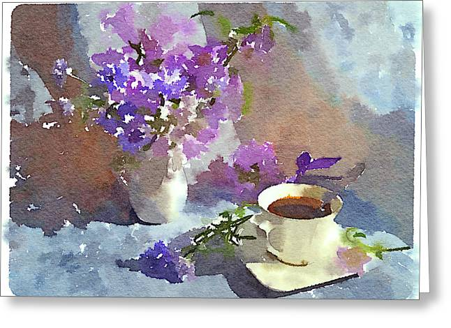 Interior Still Life Digital Art Greeting Cards - Coffee and Flowers Greeting Card by Yury Malkov