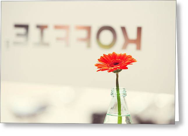 Fine Bottle Greeting Cards - Coffee and Gerbera. Utrecht Greeting Card by Jenny Rainbow
