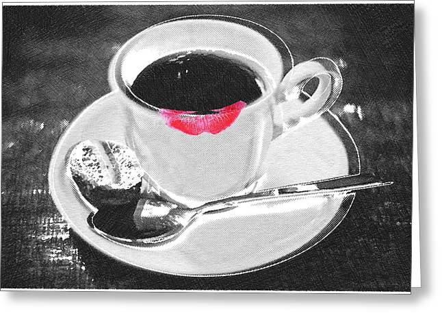 Interior Still Life Mixed Media Greeting Cards - Coffee and Lipstick Greeting Card by Tony Rubino
