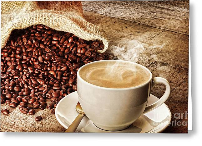 Plank Greeting Cards - Coffee and Sack of Coffee Beans Greeting Card by Colin and Linda McKie