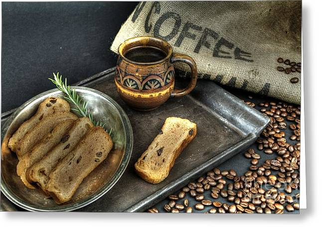 Toast Greeting Cards - Coffee and Toast 3 Greeting Card by Jimmy Ostgard