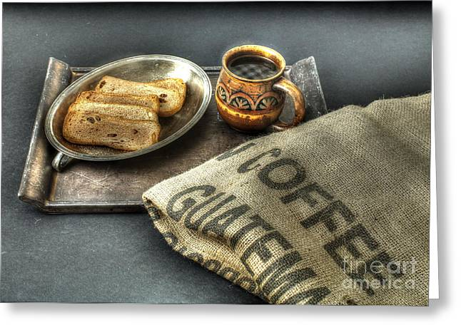 Toast Greeting Cards - Coffee and Toast Greeting Card by Jimmy Ostgard