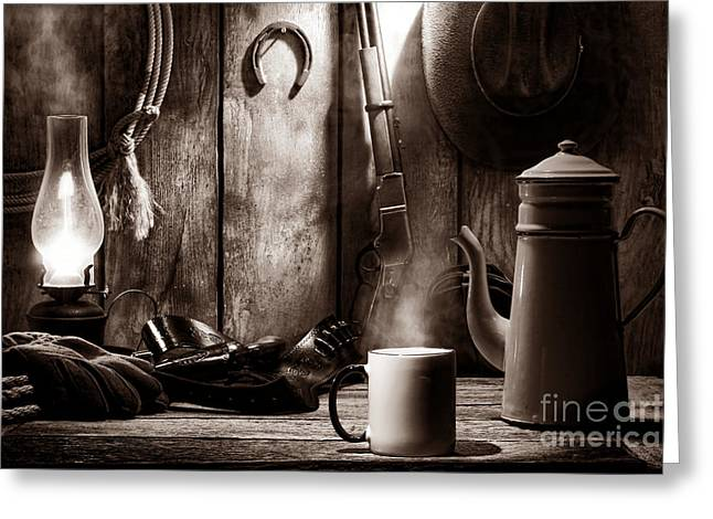 Steamy Greeting Cards - Coffee at the Cabin Greeting Card by American West Legend By Olivier Le Queinec