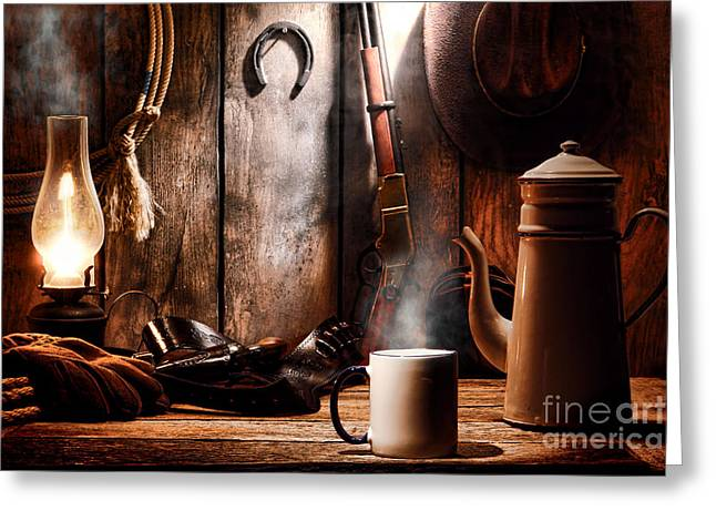 Old Wood Cabin Greeting Cards - Coffee at the Cabin Greeting Card by Olivier Le Queinec