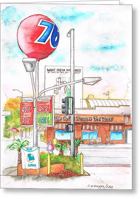 Green Beans Paintings Greeting Cards - The Coffee Bean and 76 Gas Station in Westwood - California Greeting Card by Carlos G Groppa