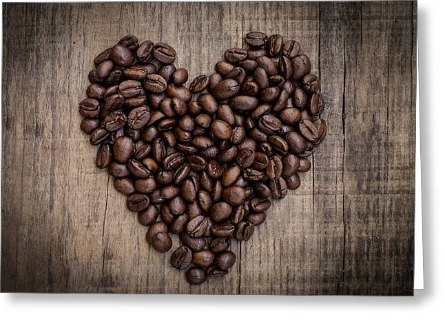 Engage Greeting Cards - Coffee Bean Heart Greeting Card by Aged Pixel