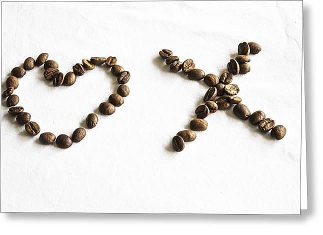I Love America Greeting Cards - Coffee Bean Love Greeting Card by Nomad Art And  Design