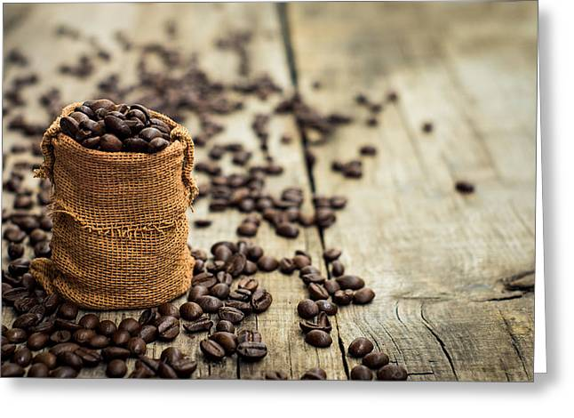 Bag Greeting Cards - Coffee Beans Greeting Card by Aged Pixel