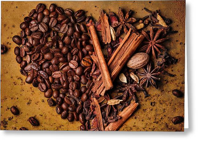 Black Top Pyrography Greeting Cards - Coffee beans and spices Greeting Card by Natasha Breen