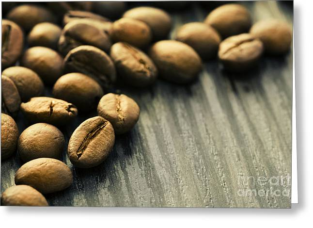 Coffee Beans Background Greeting Card by Mythja  Photography