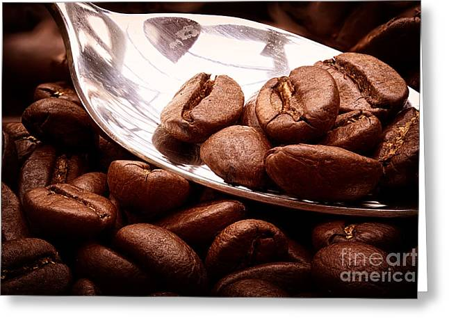 Stimulant Greeting Cards - Coffee beans on spoon Greeting Card by Simon Bratt Photography LRPS