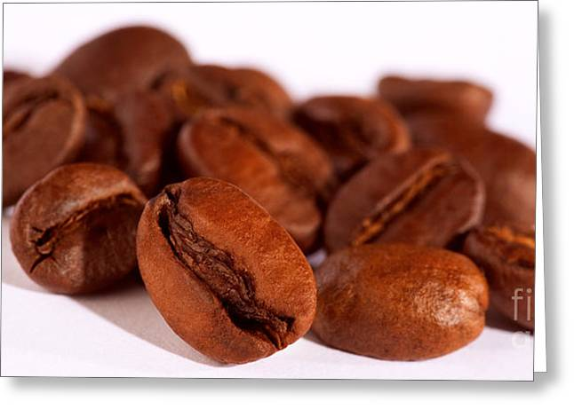 Coffee Beans Pour Greeting Card by Iris Richardson