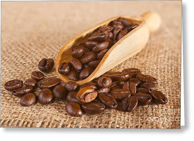 Overflow Greeting Cards - Coffee Beans Spilling from a Scoop Greeting Card by Colin and Linda McKie
