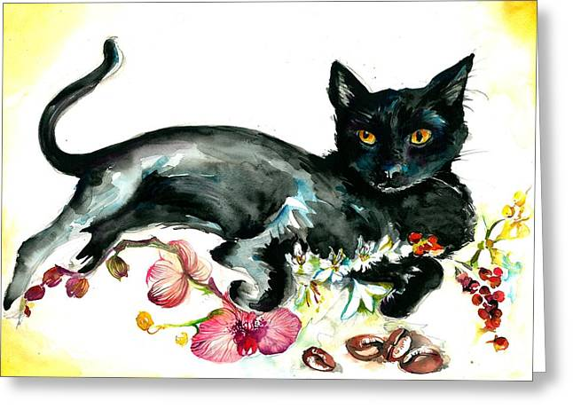 Les Fleurs Greeting Cards - Coffee Black Cat Vintage Style Large Format xxl Greeting Card by Tiberiu Soos