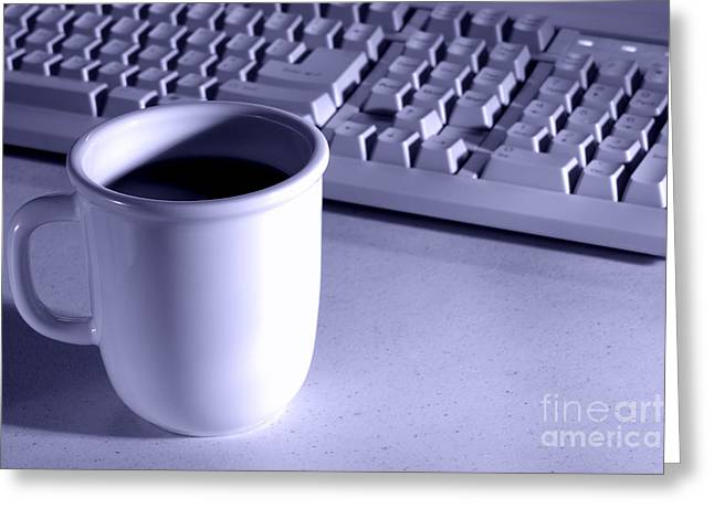 Workplace Photographs Greeting Cards - Coffee Blue Greeting Card by Olivier Le Queinec