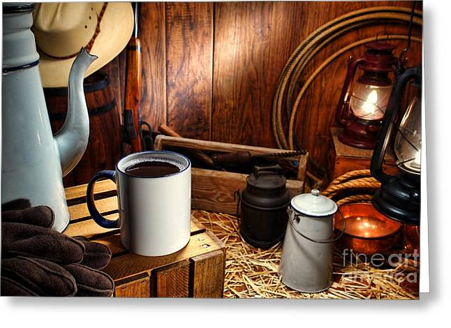 Enamel Greeting Cards - Coffee Break at the Chuck Wagon Greeting Card by Olivier Le Queinec
