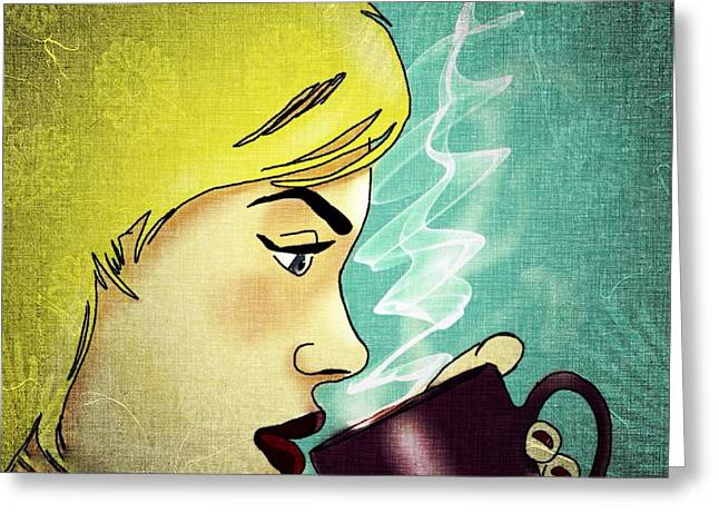 Coffee Drinking Digital Art Greeting Cards - Coffee break ii  Greeting Card by Helen Bowman