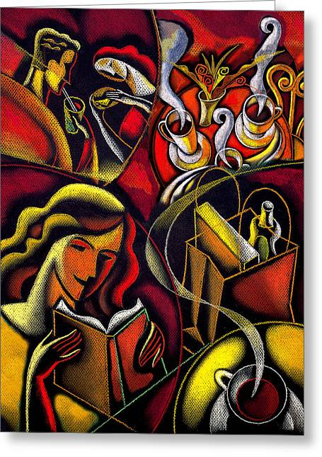 Coffee Drinking Paintings Greeting Cards - Coffee break Greeting Card by Leon Zernitsky
