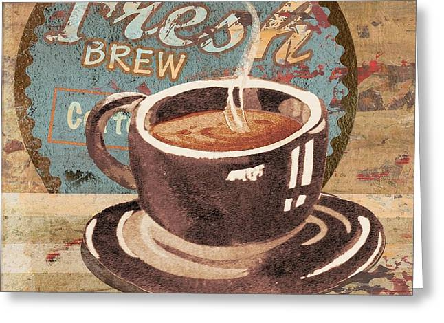 Barista Greeting Cards - Coffee Brew Sign I Greeting Card by Paul Brent