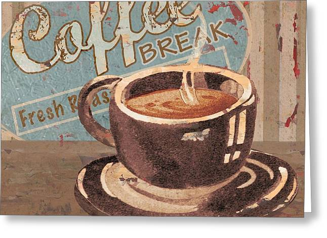 Barista Greeting Cards - Coffee Brew Sign IV Greeting Card by Paul Brent
