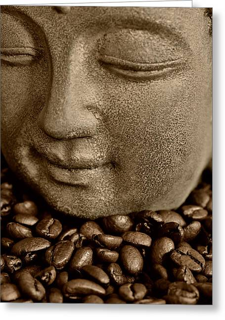 Asien Photographs Greeting Cards - Coffee Buddha 2 Greeting Card by Falko Follert